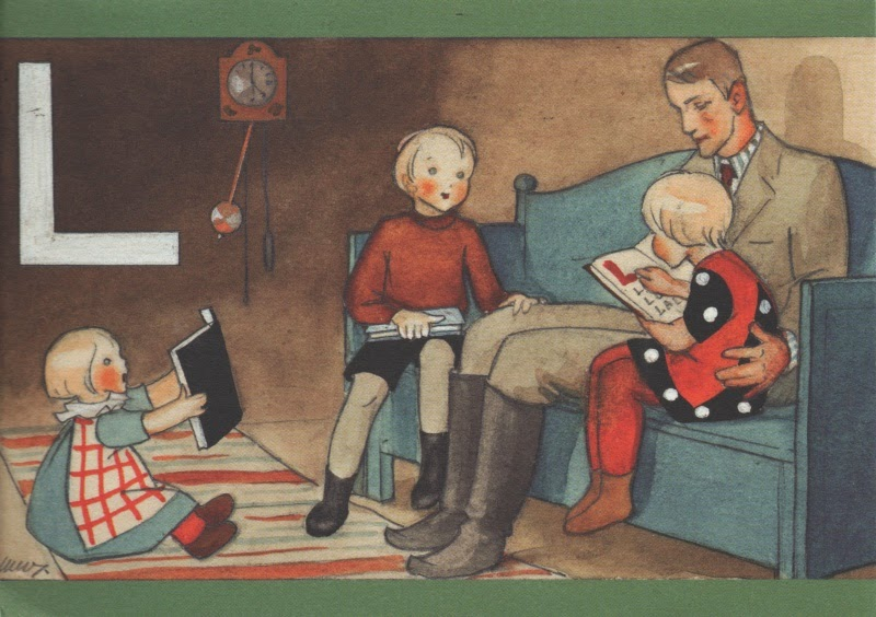 Father seated on sofa, reading with three children. L for lukea.