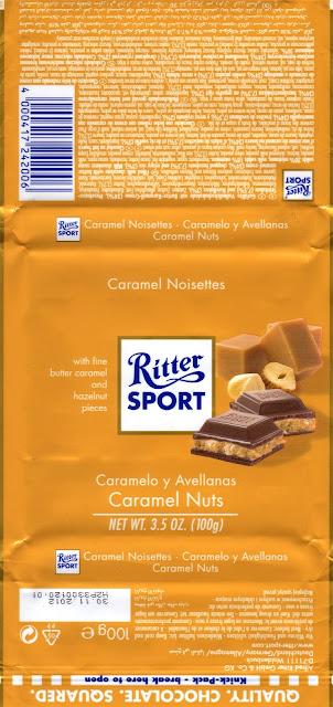 tablette de chocolat lait fourré ritter sport lait caramel noisettes