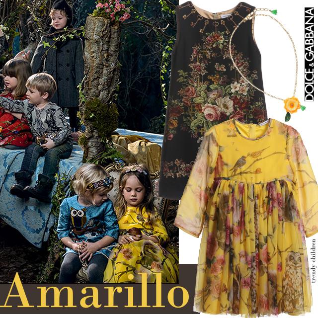 vestido amarillo seda dolce & Gabbana
