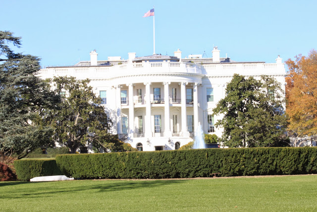 The rear view of The White House in Washington DC, USA