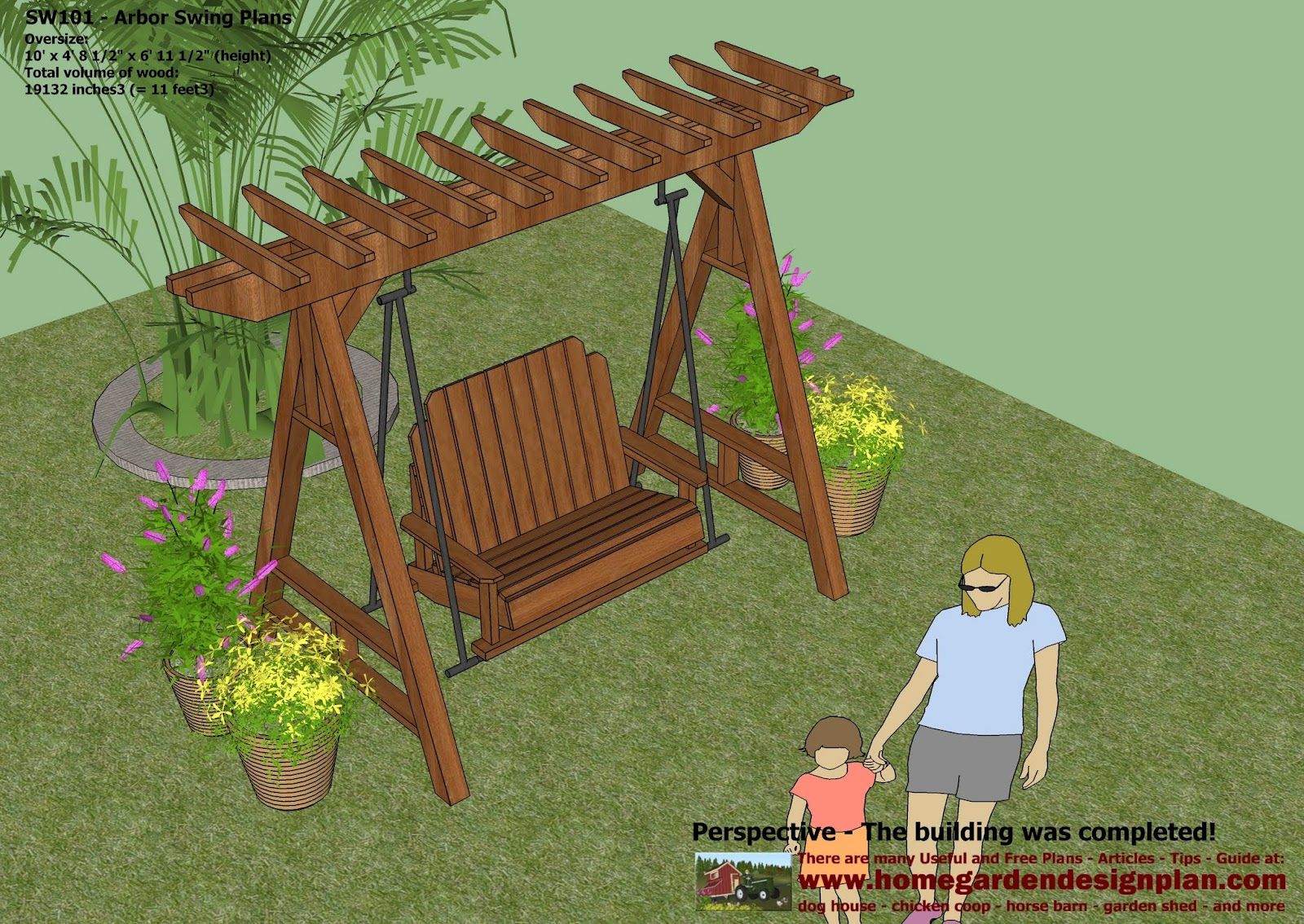 Home Garden Plans: SW101   Arbor Swing Plans Construction   Graden Sw..