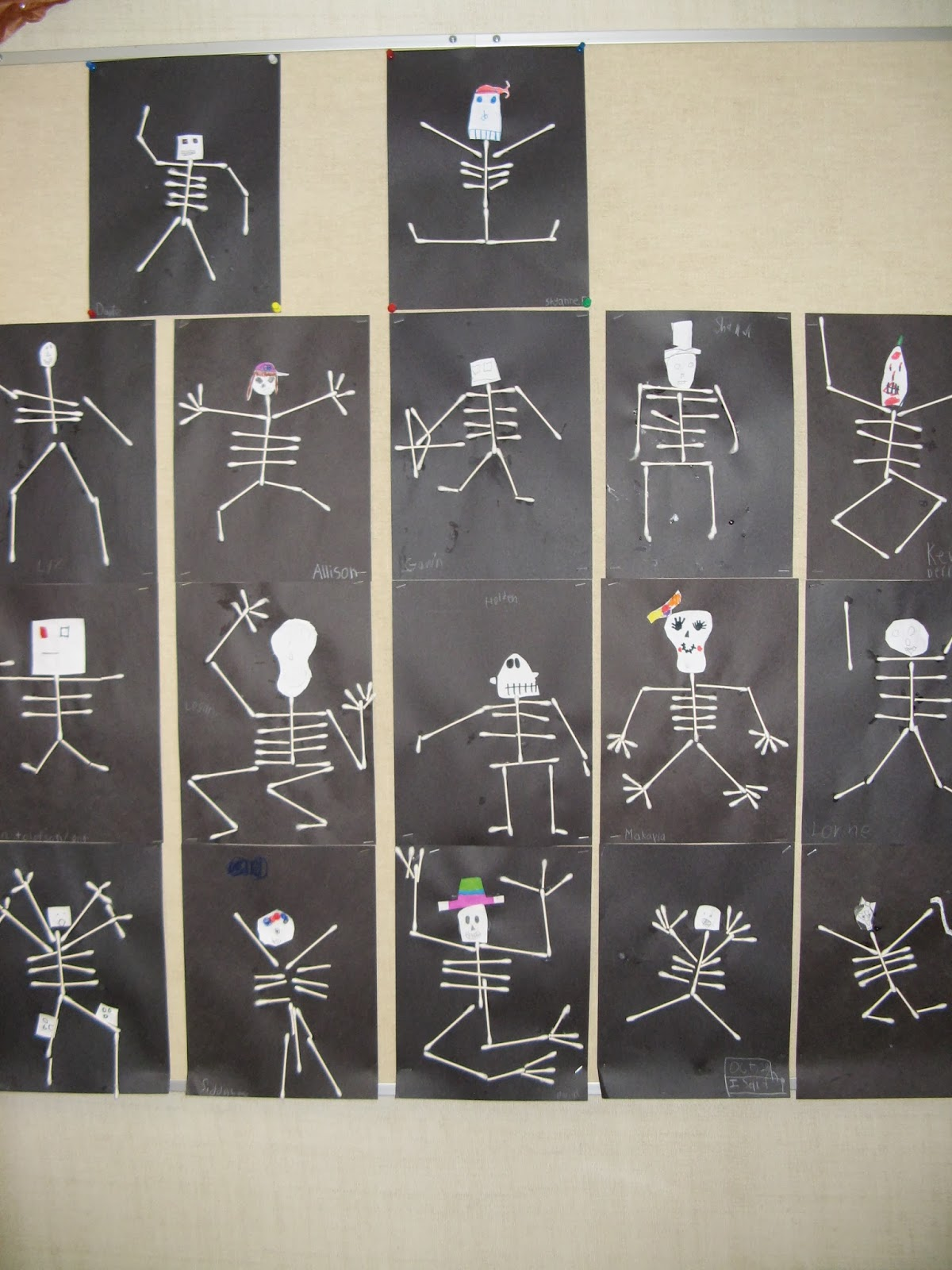 Terri 39 s teaching treasures halloween art and mini pumpkins for Q tip skeleton craft template