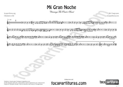 Mi Gran Noche Partitura de Clarinete en Si bemol de Raphael Sheet Music for Clarinet