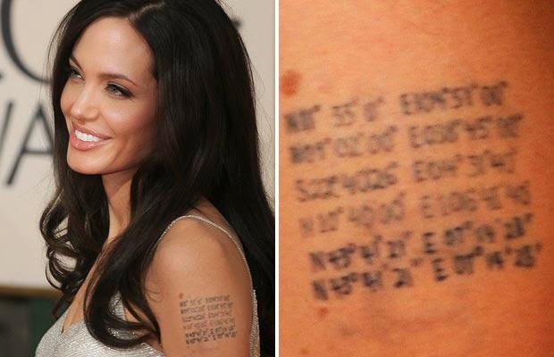 angelina jolie tattoos meanings coordinates