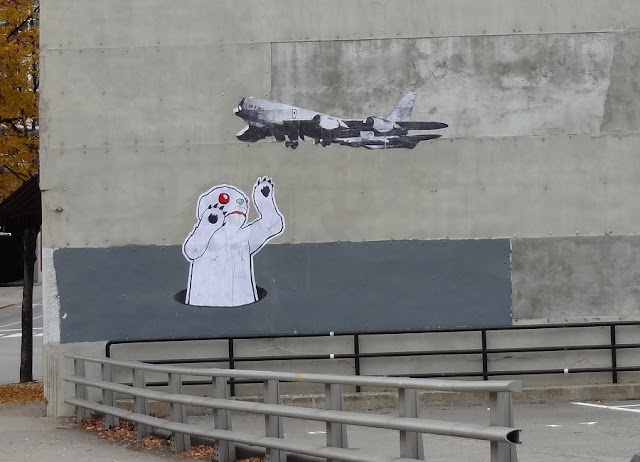 Wheatpaste,Bangor,Maine,Abominable Snowman,monster,snow,airplane,pigeon,art,artist,State Street,Downtown