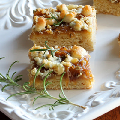 Caramelized Onion Squares with Blue Cheese