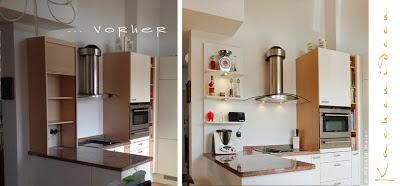 Frontentausch, neuer Spritzschutz aus Glas beim Herd und ein offenes Regal geben dieser Küche wieder modernen Pepp