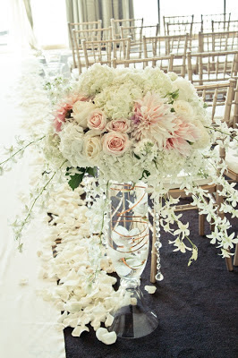 wedding arch, blush wedding flowers, crystal strands, Four Seasons, Seattle wedding, Flora Nova Design