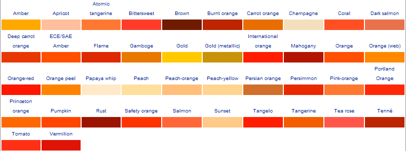 The twisted cow Shades of orange colour chart