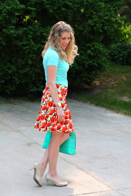 mint top, poppy skirt, nude heels, mint kate spade bag
