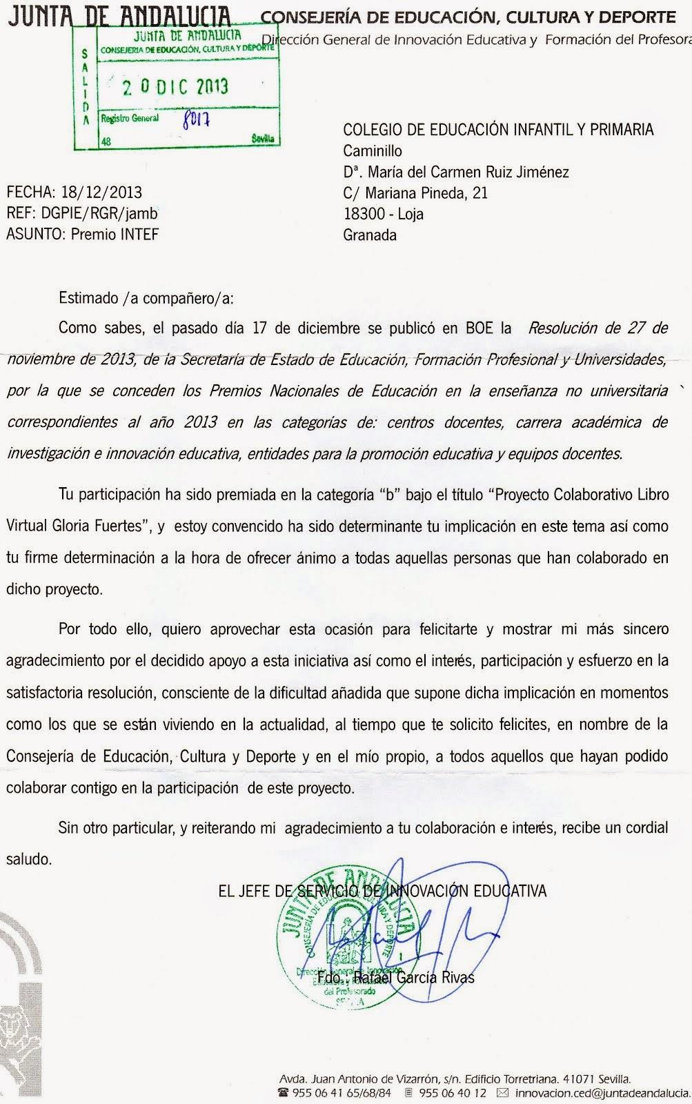 Felicitación de la Delegada Ana Gámez Tapias