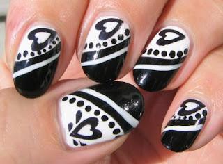nokti slike crno beli motivi 002