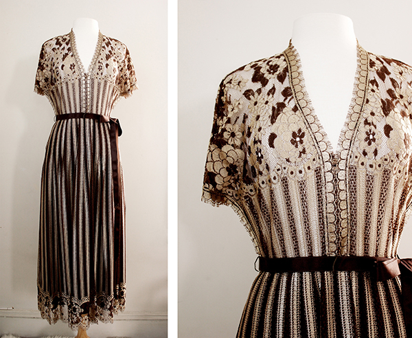 new to the vintage shop 1960s lace maxi dress