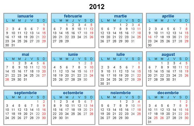 Zilele libere din anul 2012