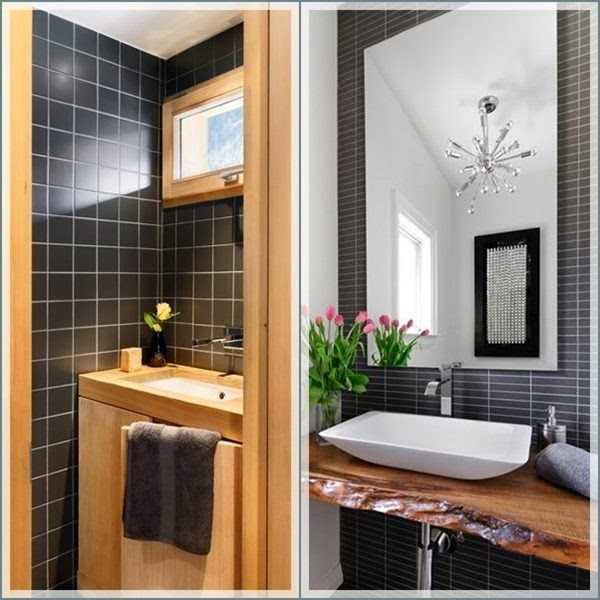 decoracao lavabo branco: não ? Use madeira e rejunte claros ou bastante branco para amenizar