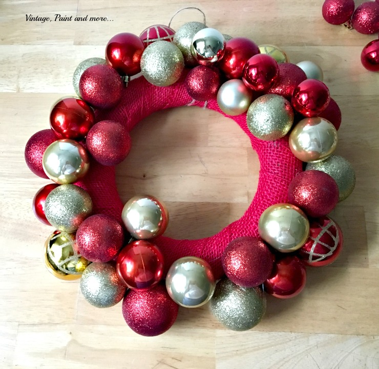 Vintage, Paint and more... adding various size ornaments to a diy ornament wreath
