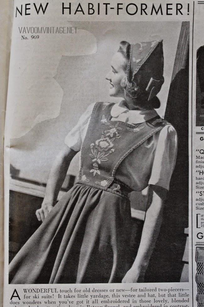 1940s vintage dutch bonnet and pinafore apron dress from Va-Voom Vintage