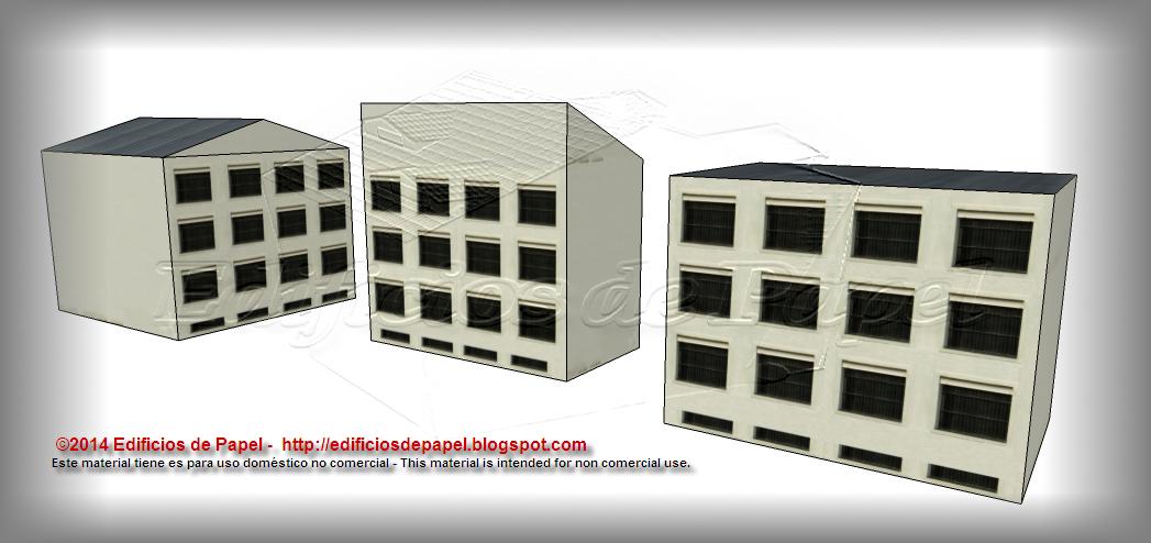Edificios de 3 pisos con ventanas de entresuelo