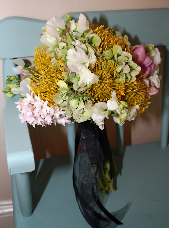 Maid of Honor's Bouquet - antique hydrangea, parrot tulips, hyacinth, sweet peas & protea - Splendid Stems Floral Designs