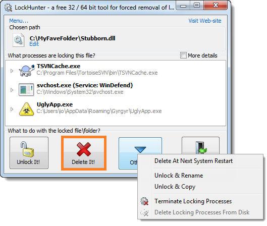 أفضل برنامجين لحذف الملفات والمجلدات التي لا تقبل الحذف أو النقل أو إعادة التسمية LockHunter Unlocker