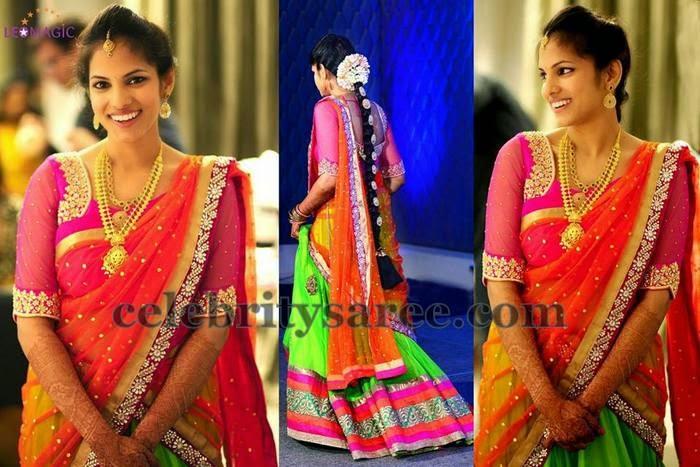 Bride in Maggam Work Half Saree