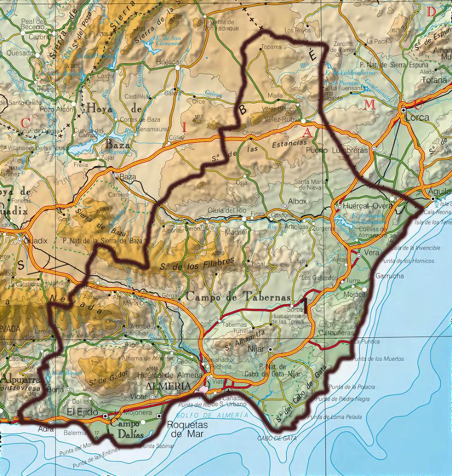 Rutas en mapa almeria