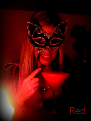 strawberry daquiri, venetian mask, red, edited photo, picmonkey photo