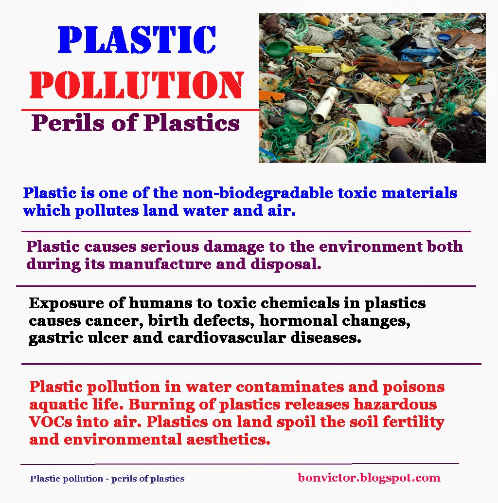 the pollution caused by plastic While plastic thrown into landfills contaminates the soil and groundwater with harmful chemicals and microorganisms, the effects of marine pollution caused by plastic are immeasurable just like on land, even in the oceanic areas, the effect of plastic on marine life has started to be felt the studies reveal.