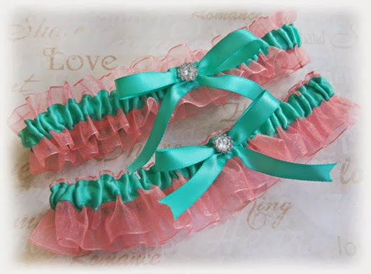 aqua wedding ideas bridal garters