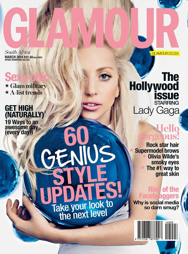 Magazine Cover : Lady Gaga Magazine Photoshoot Pics on Glamour Magazine South Africa March 2014 Issue