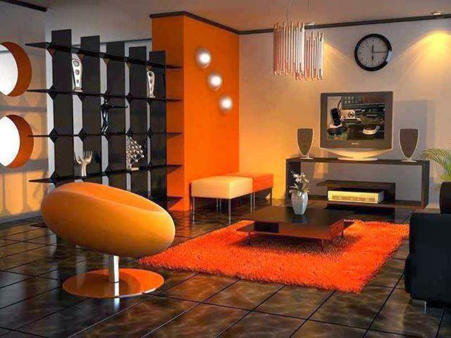 Salas decoradas con naranja y otros colores salas con estilo for Decoracion para pared naranja