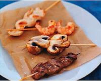 Healthy Recipe; Grilled Beef, Chicken, Shrimp, and Moshroom Skewers