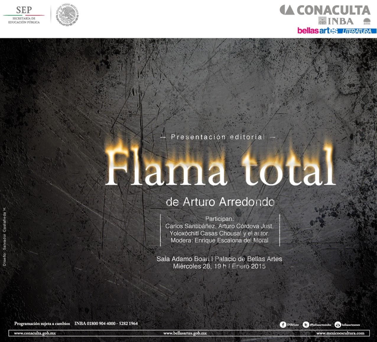 """Presentarán poemario """"Flama Total"""" de Arturo Arredondo en el Palacio de Bellas Artes"""