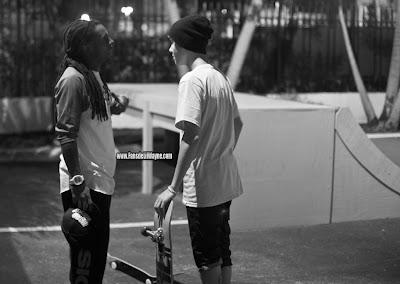 fotos de justin bieber haciendo skate en casa de lil wayne