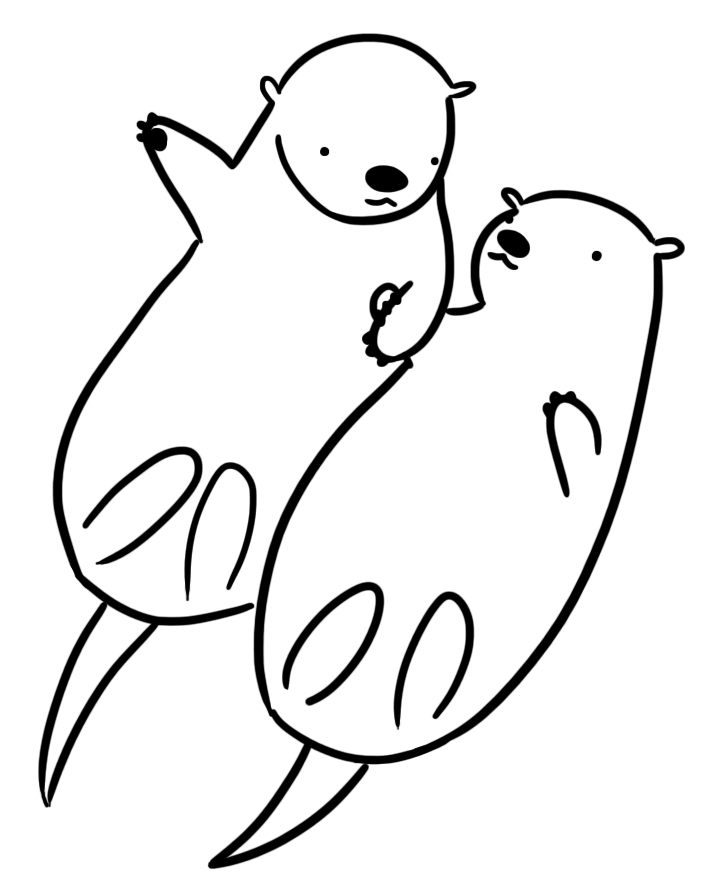 otter coloring page - kat doodles a brief study in otters