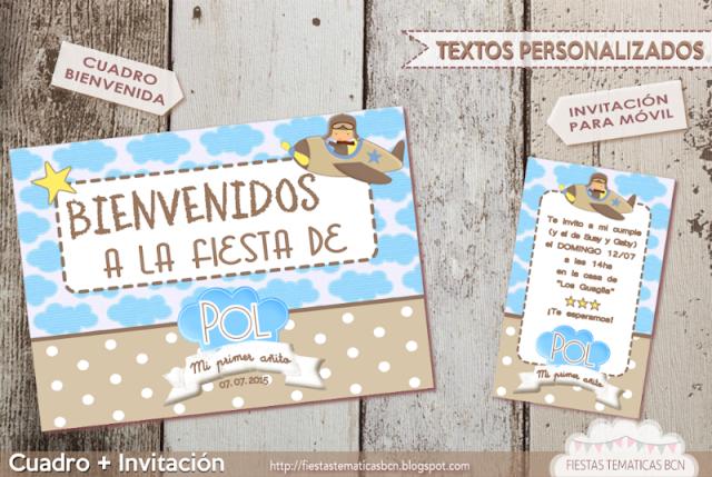 cartel de bienvenida + invitación aviador