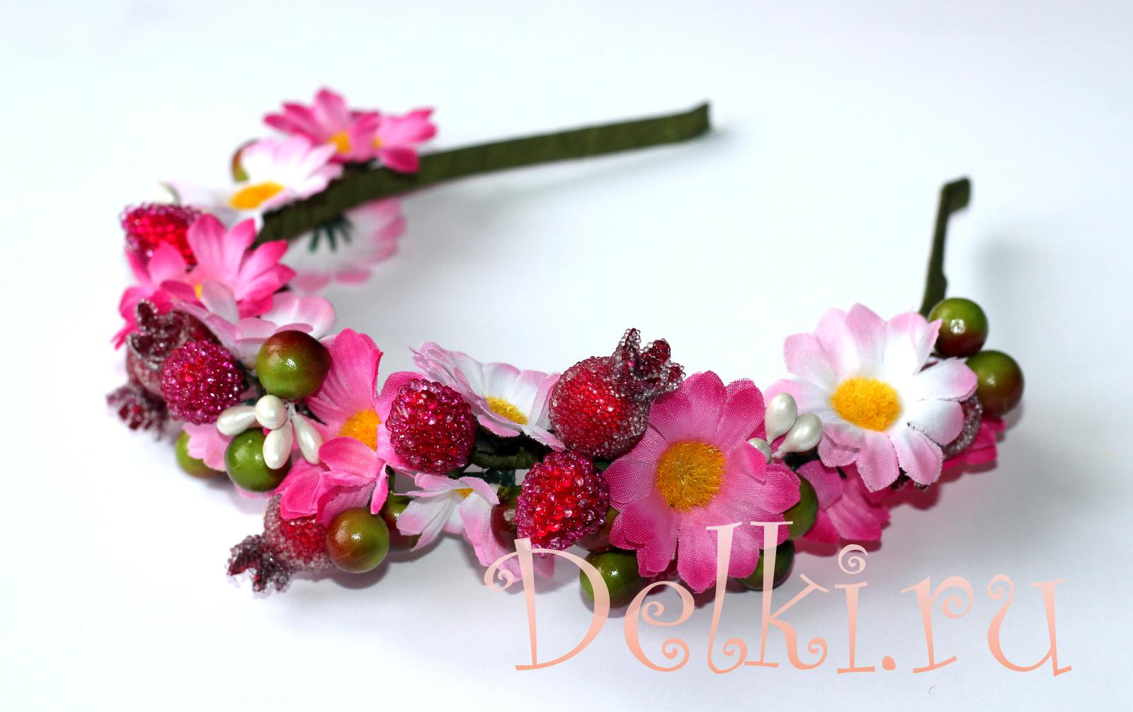 Фото как сделать ободок с цветком из