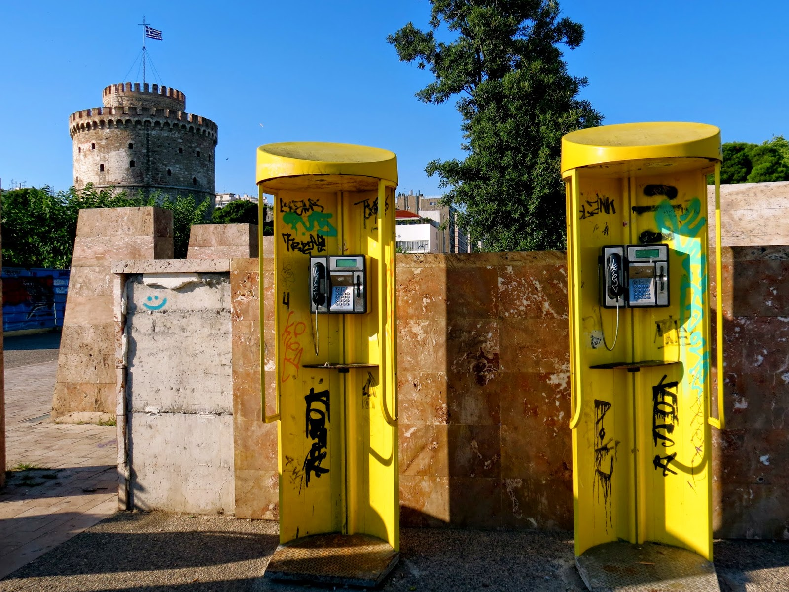 Thessaloniki white tower telephone booth