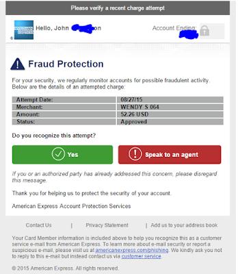 Amex email fraud alert