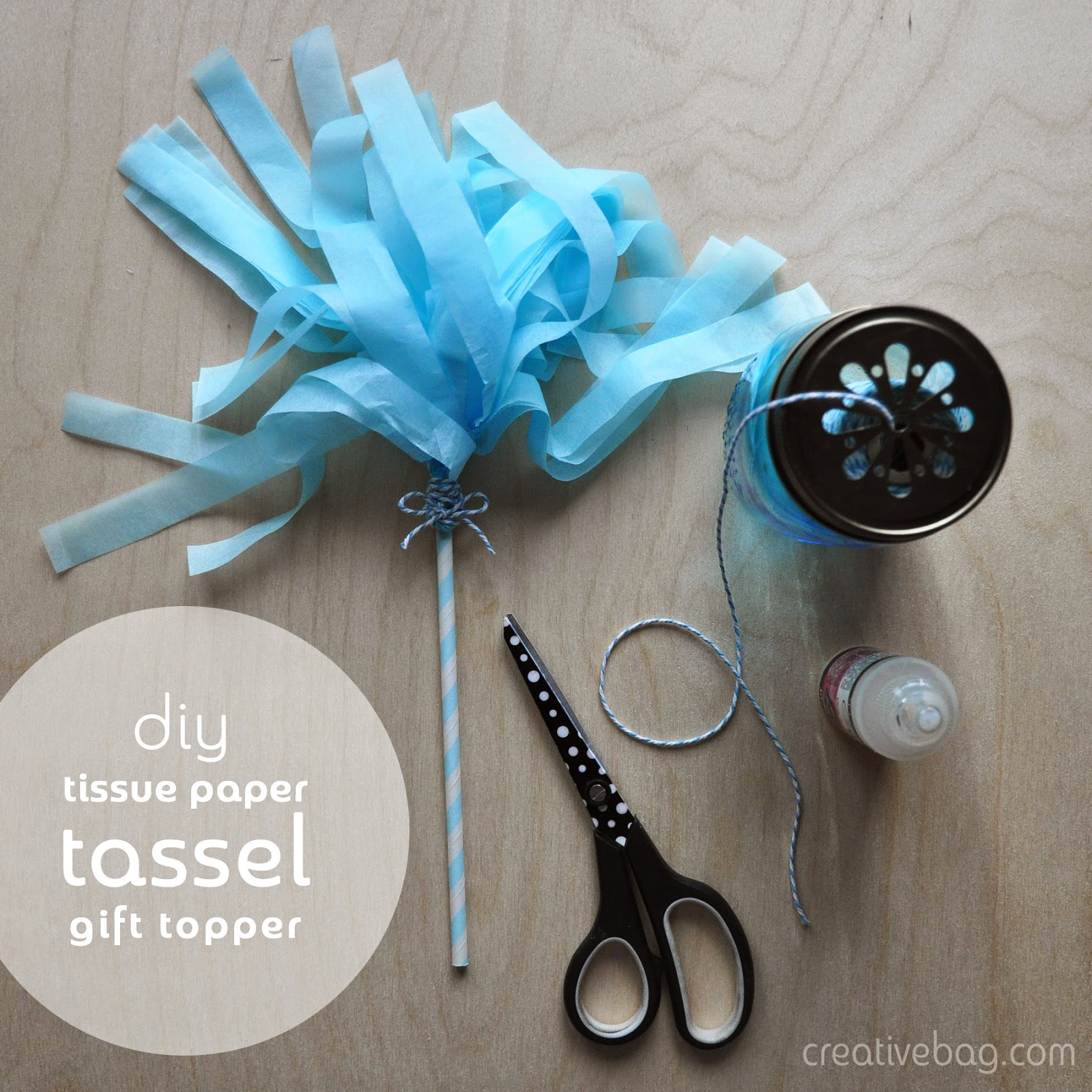 diy tissue paper tassel gift toppers by Lorrie Everitt from Creative Bag