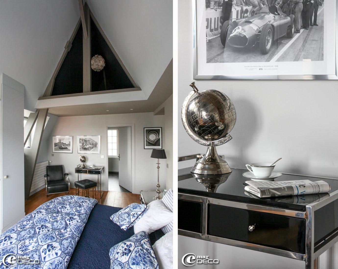 Une cahmbre de la maison d'hôtes 'Le Cottage' avec un secrétaire 'Equinox' en verre et acier 'Eichholtz' et un globe 'Fancy'