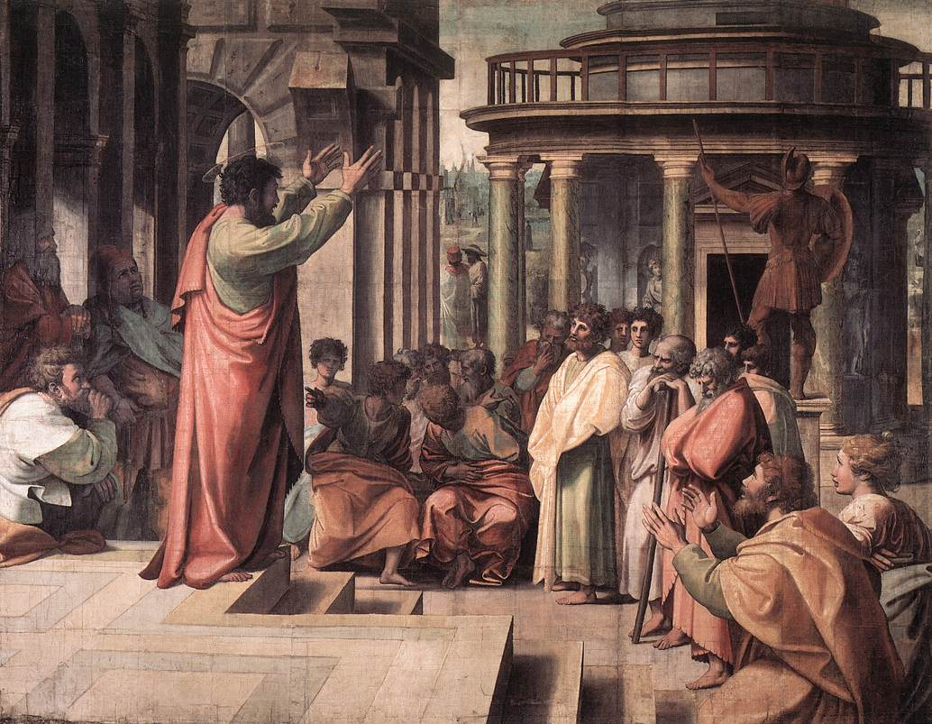 Theodosius preaching to a crowd