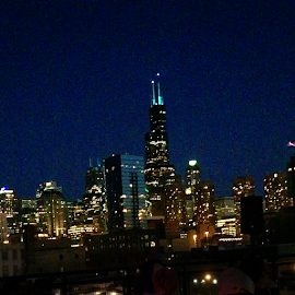 View of the Chicago Skyline from the rooftop deck of the Ace Hotel.