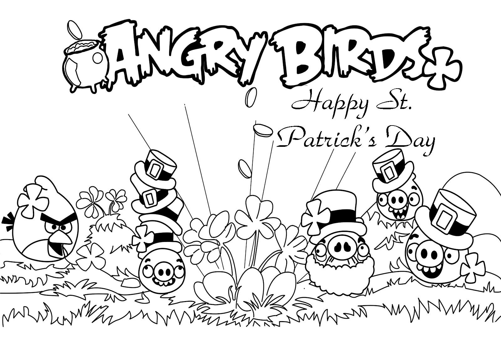 Angry Birds dia de San Patricio para colorear 17 de Marzo