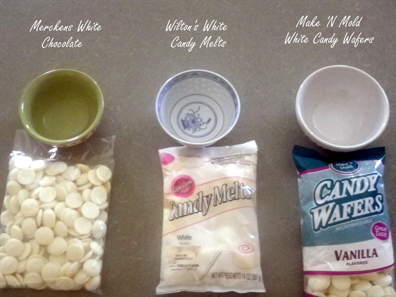 Merckens Chocolate Vs. Wilton Candy Melts Vs. Make N' Mold Melting ...