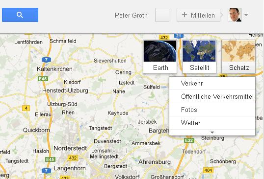 Screenshot Googel-Maps mit Schaltfläche Schatz