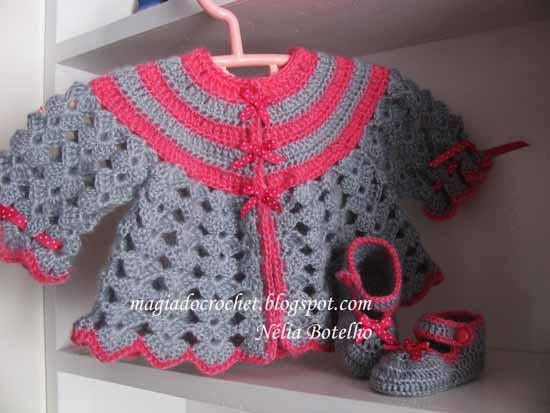 casaco+cinza+e+rosa 2013 Tığ işi bebek örgüleri