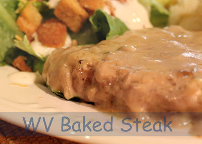 West Virginia Baked Steak cooks in a delicious mushroom gravy.