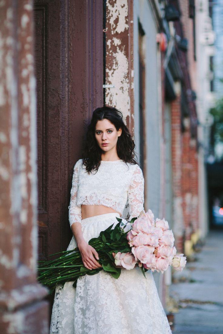 Vestido novia falda y crop top