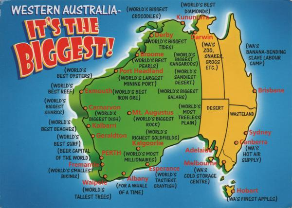 Cartoon map of Australia with Western Australia emphasised